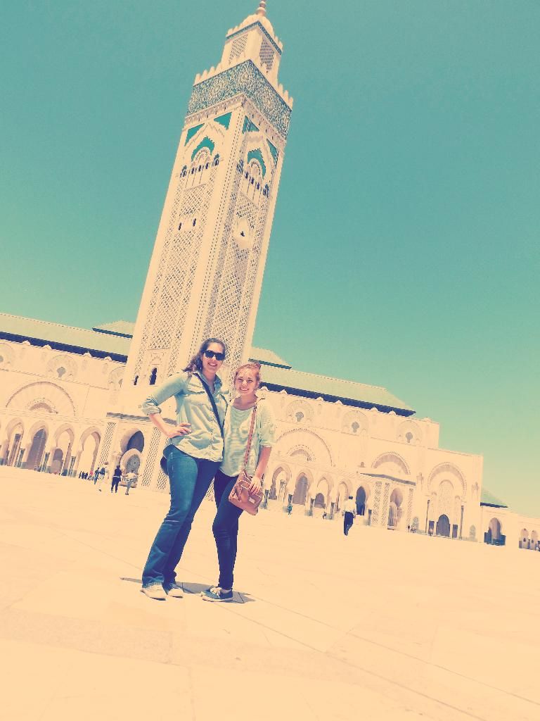 in front of the mosque